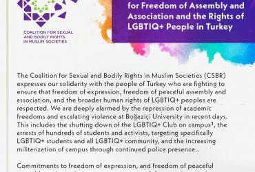 Türkiye'de Toplanma ve Örgütlenme Özgürlüğü ile LGBTİQ+ Hakları için CSBR Dayanışma Metni